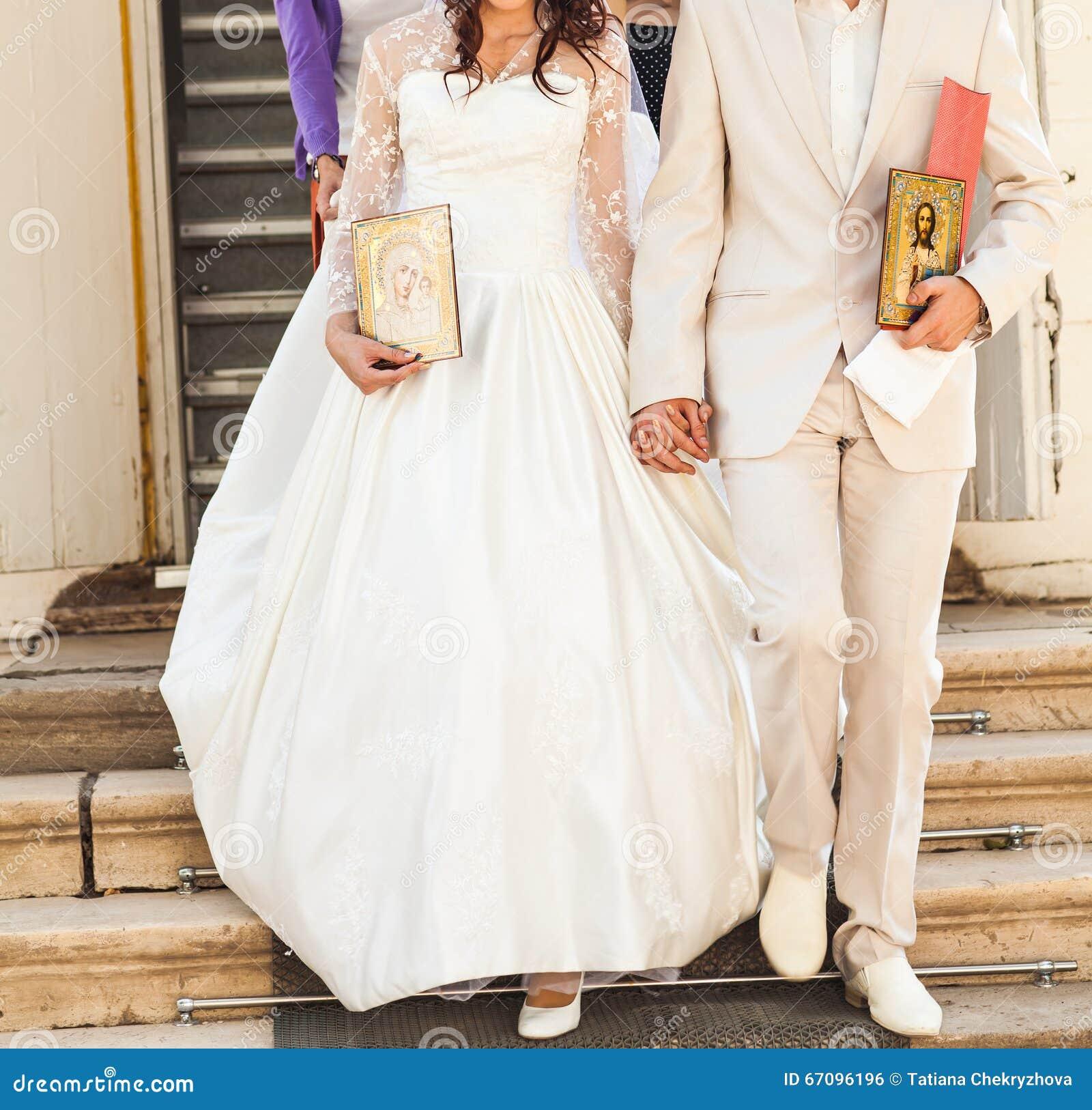 Jewish Wedding Altar: Bride And Groom After Orthodox Wedding Ceremony Stock