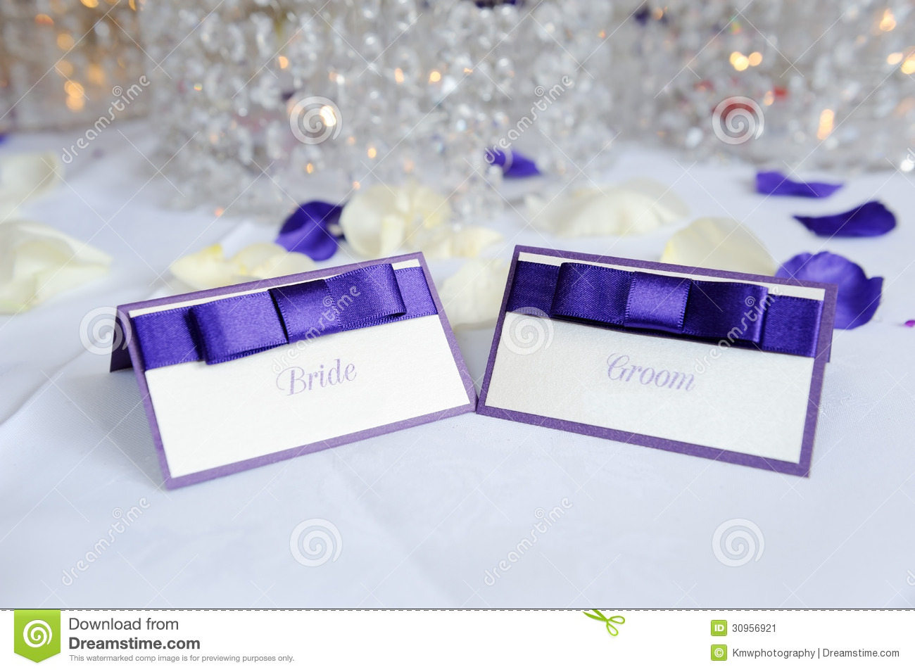 Bride And Groom Place Cards Stock Image Image Of Place Marriage