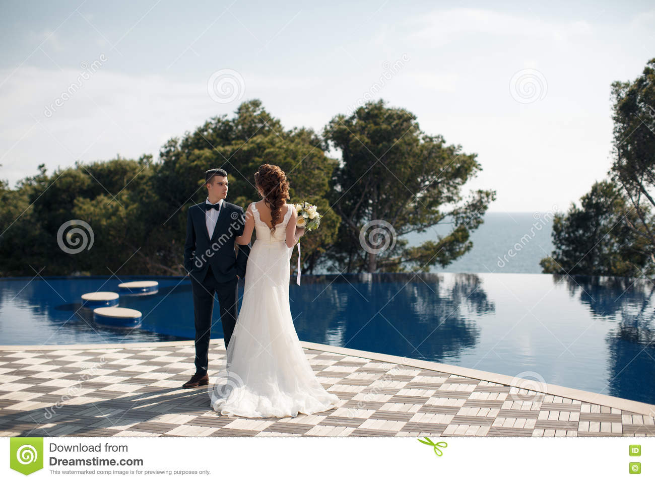 31b42c8a4 Young loving couple,the groom in dark suit and bow tie and the bride in a  beautiful white wedding gown,a brunette with long curly hair,a beautiful  tiara and ...