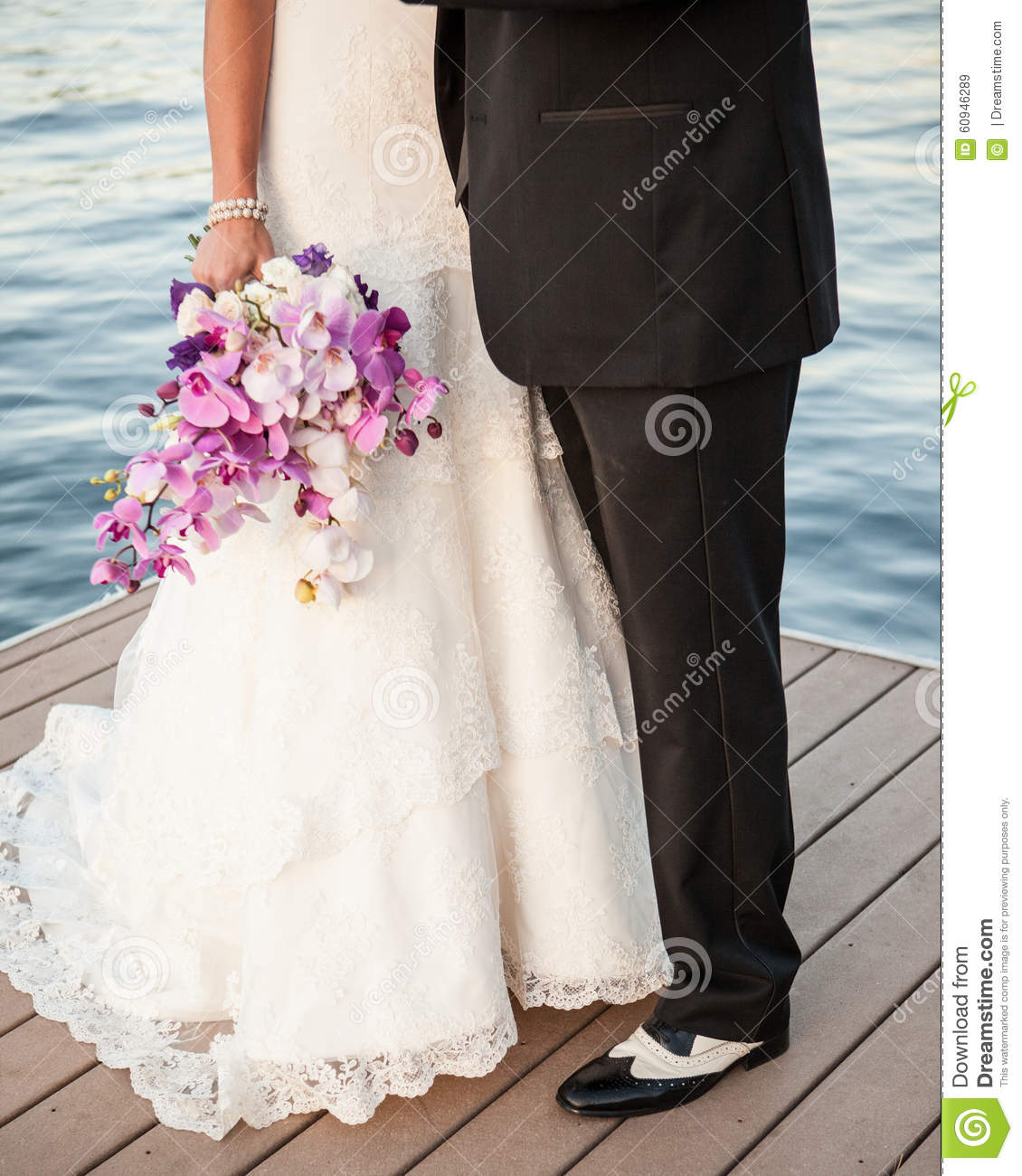 Bride Groom Purple Bouquet Black And White Spats On The Lake