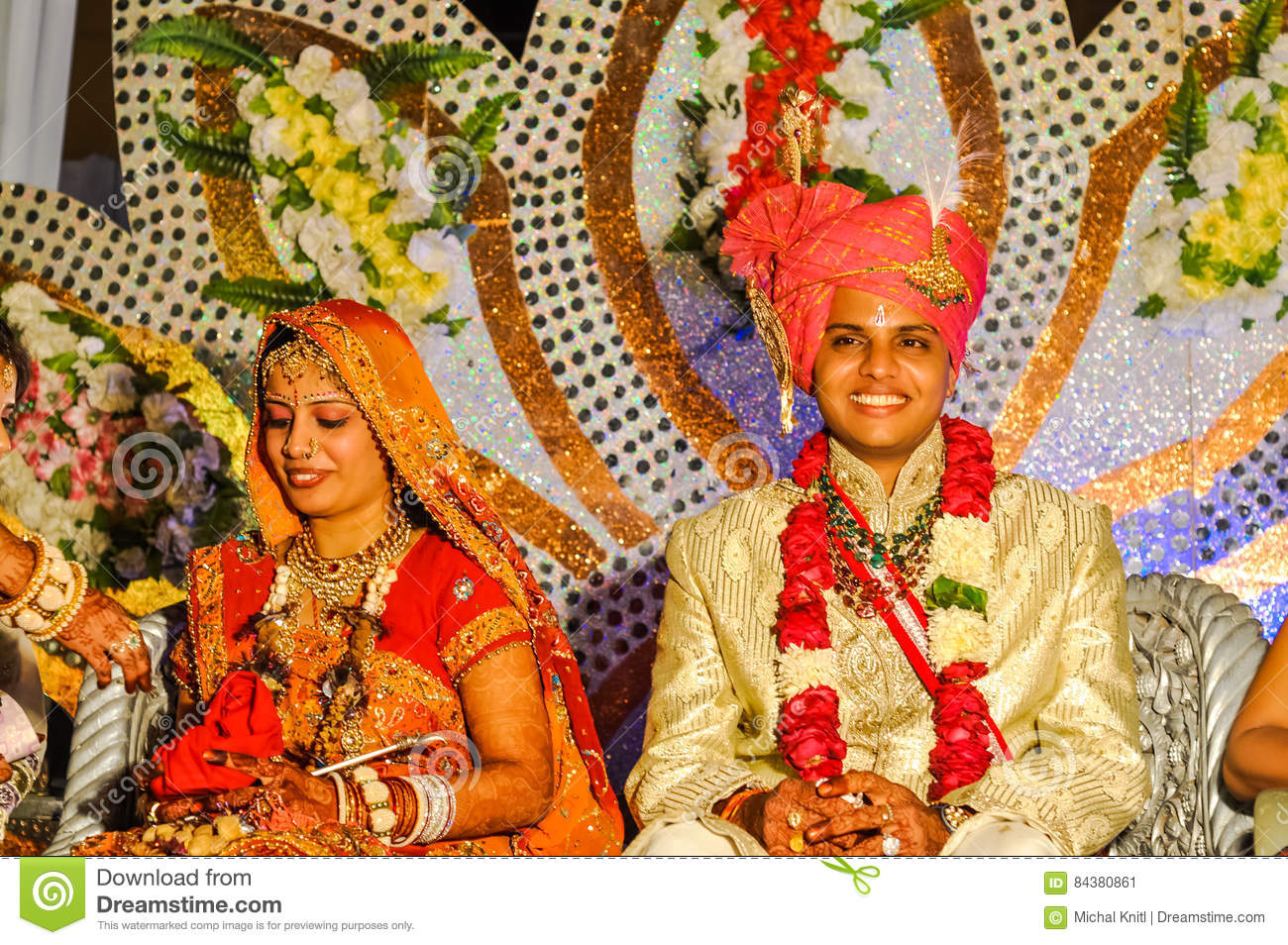 5d9b0e557a Bikaner, Rajasthan - circa December 2011: Bride and groom in beautiful  wedding costumes pose during their wedding ceremony in Bikaner, Rajasthan.