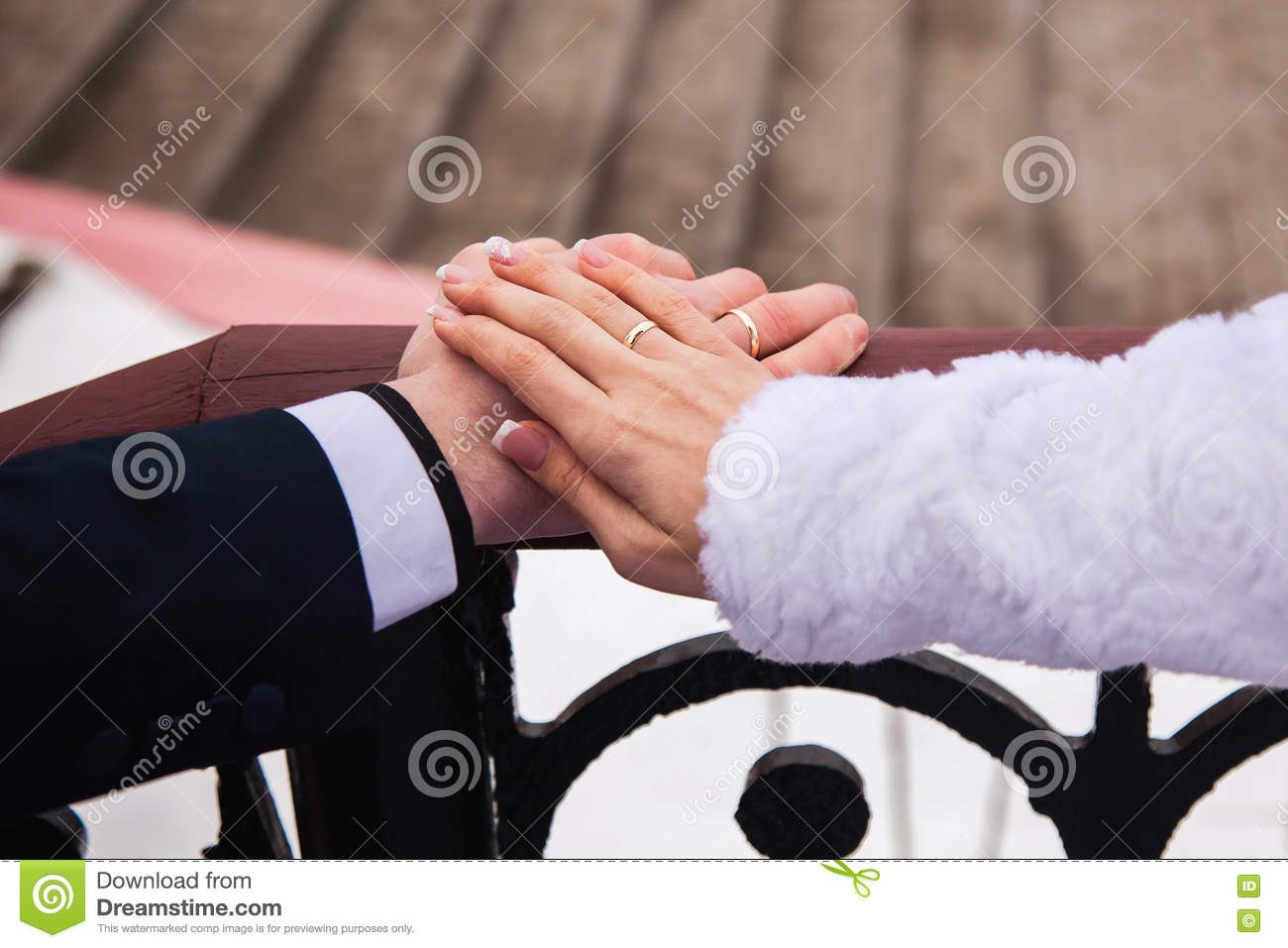 Which Hand Wedding Ring Female.Bride And Groom With Rings On Their Hands Male And Female Hand With