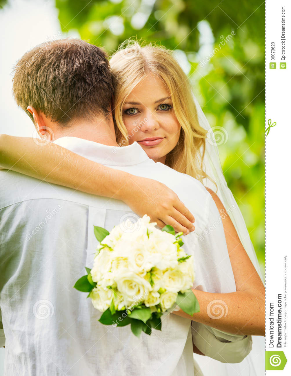 Bride and groom romantic newly married couple embracing stock bride and groom romantic newly married couple embracing kristyandbryce Image collections