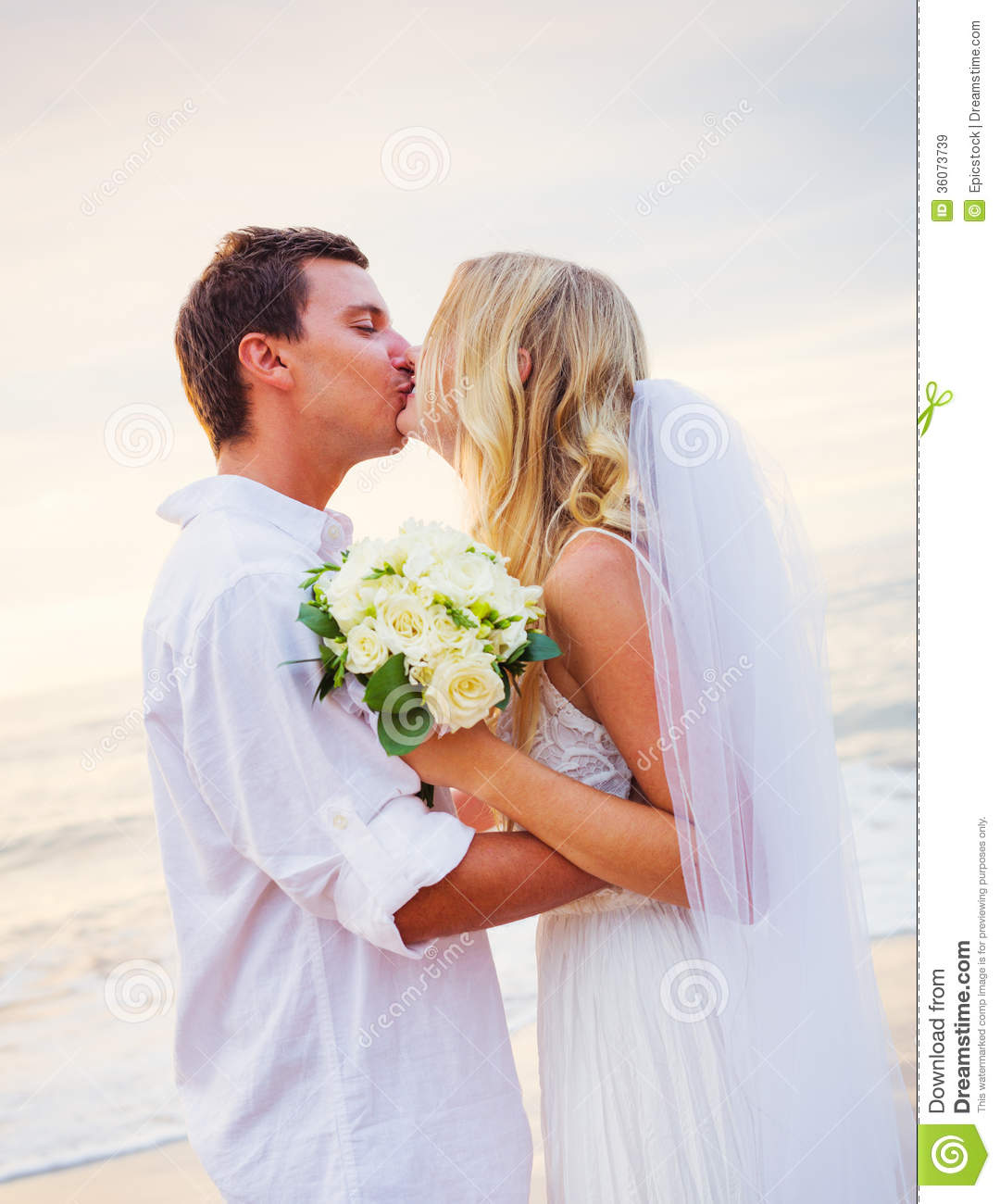 ... and Groom, Romantic Newly Married Couple Holding Hands, Just Married