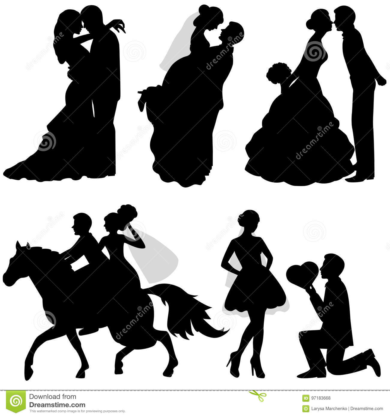 The bride and groom. Set. stock vector. Illustration of cartoon ...