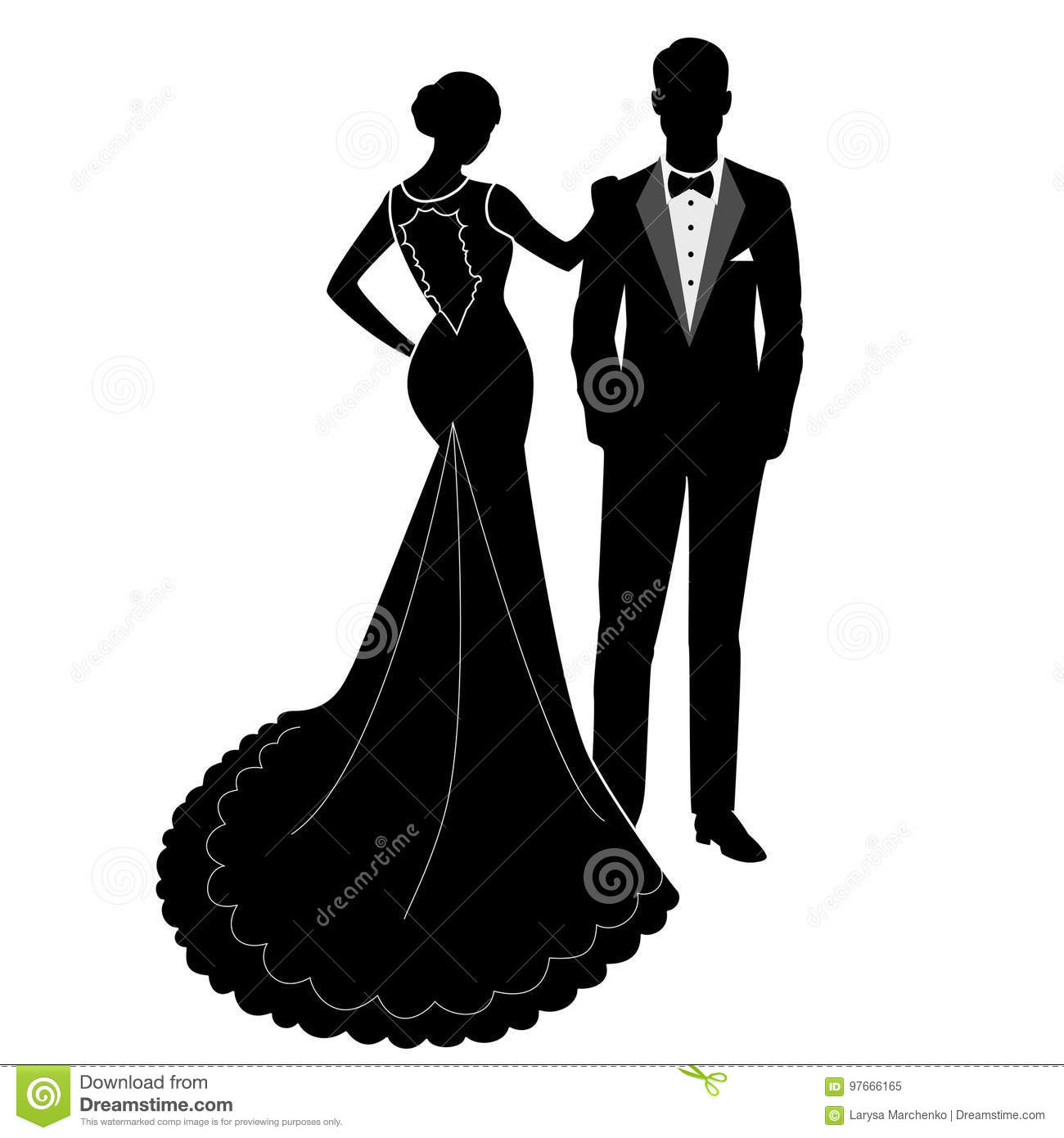 The Bride And Groom Silhouette. Stock Vector