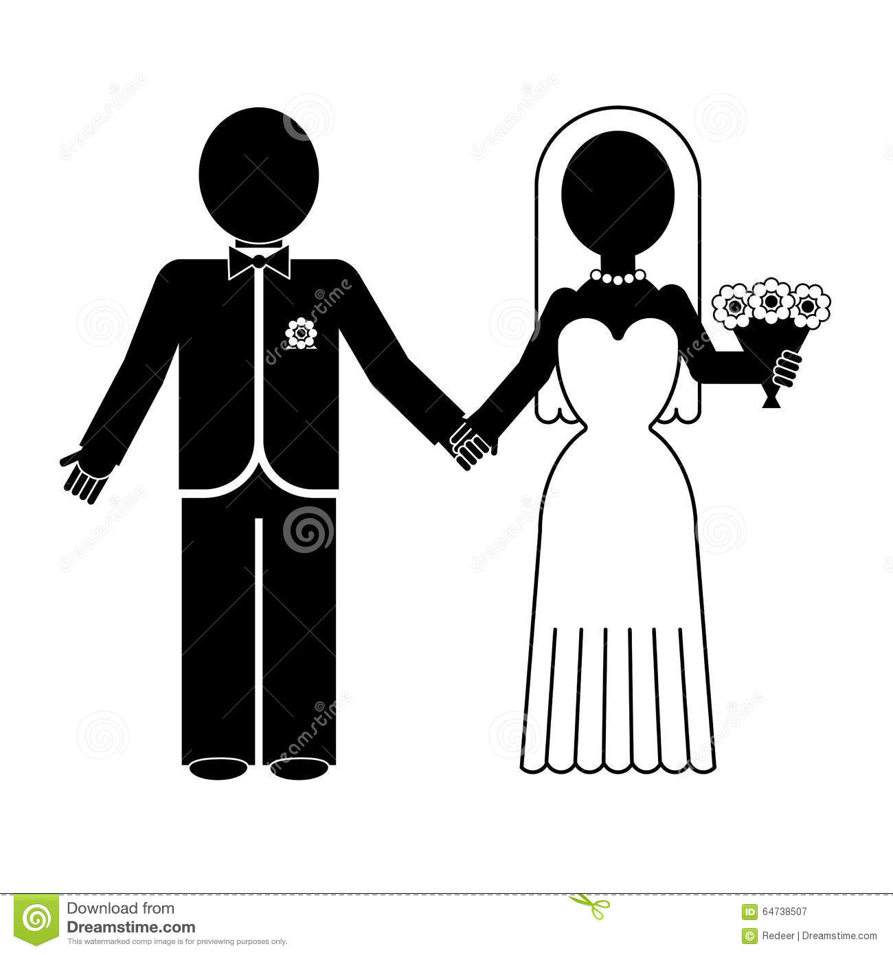 Bride And Groom Silhouette. Vector Icon. Stock Vector ...
