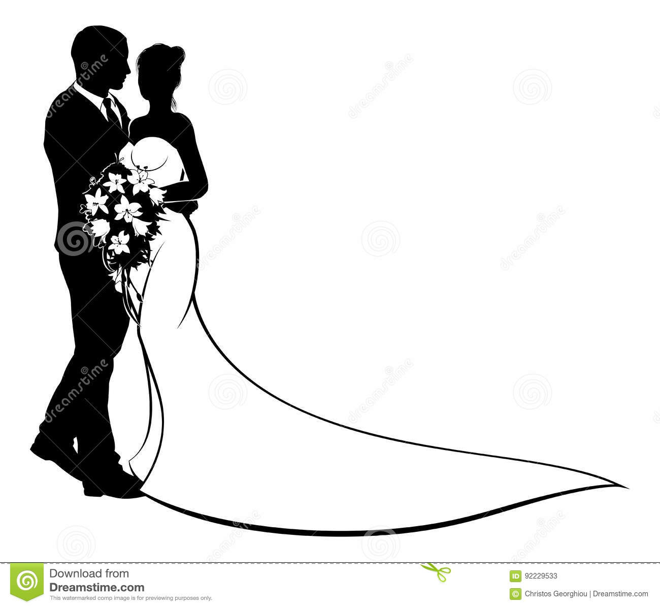 bride and groom silhouette wedding concept stock vector rh dreamstime com