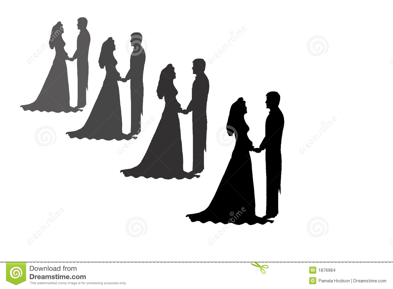 Bride And Groom Silhouettes Stock Images - Image: 1876984