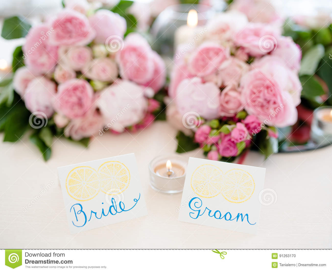 Download Bride And Groom Table Setting Stock Photo   Image Of Celebration,  Nuptial: 91263170