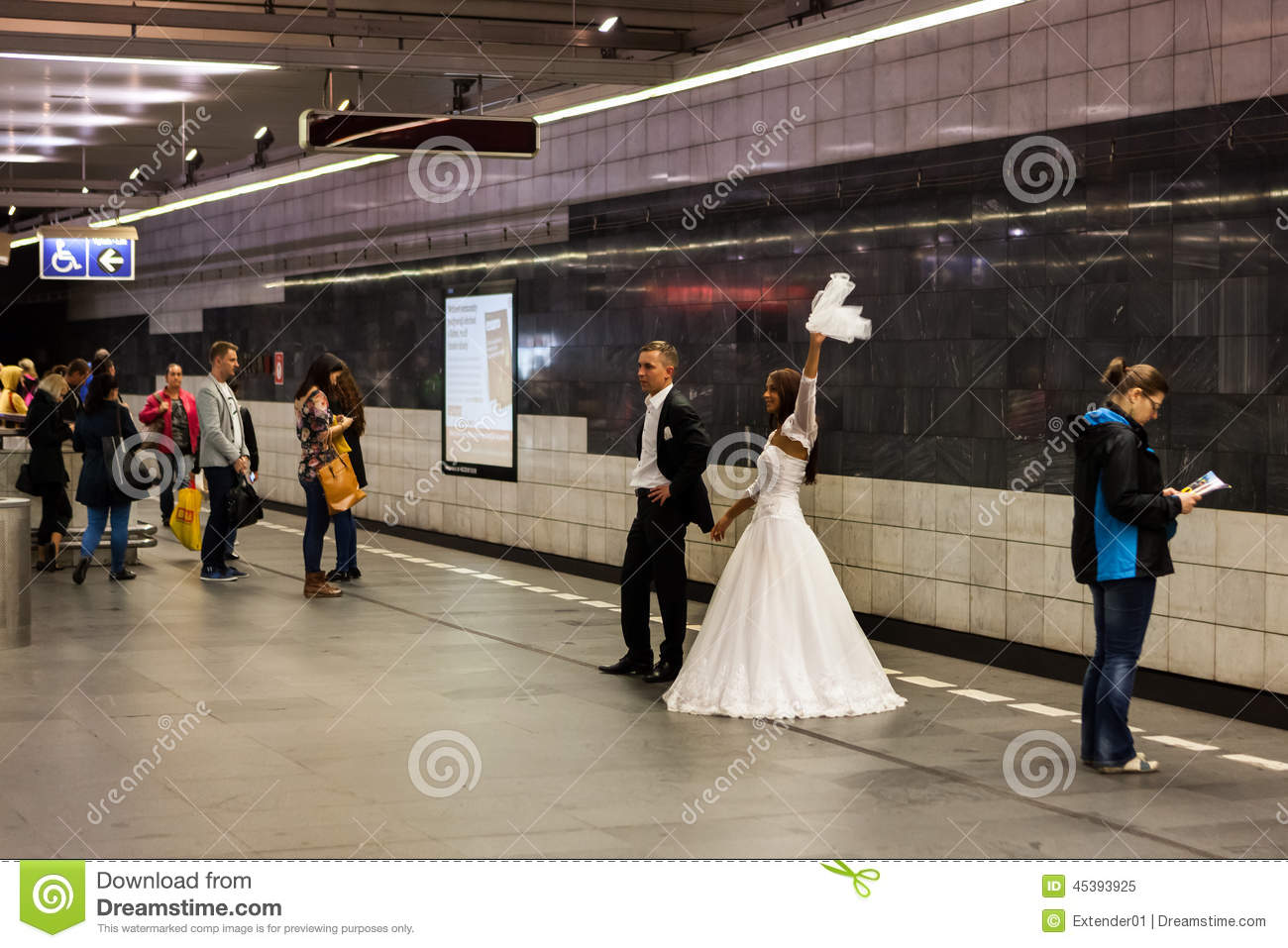 Bride And Groom Take Wedding Photos In Subway Editorial Image - Image ...
