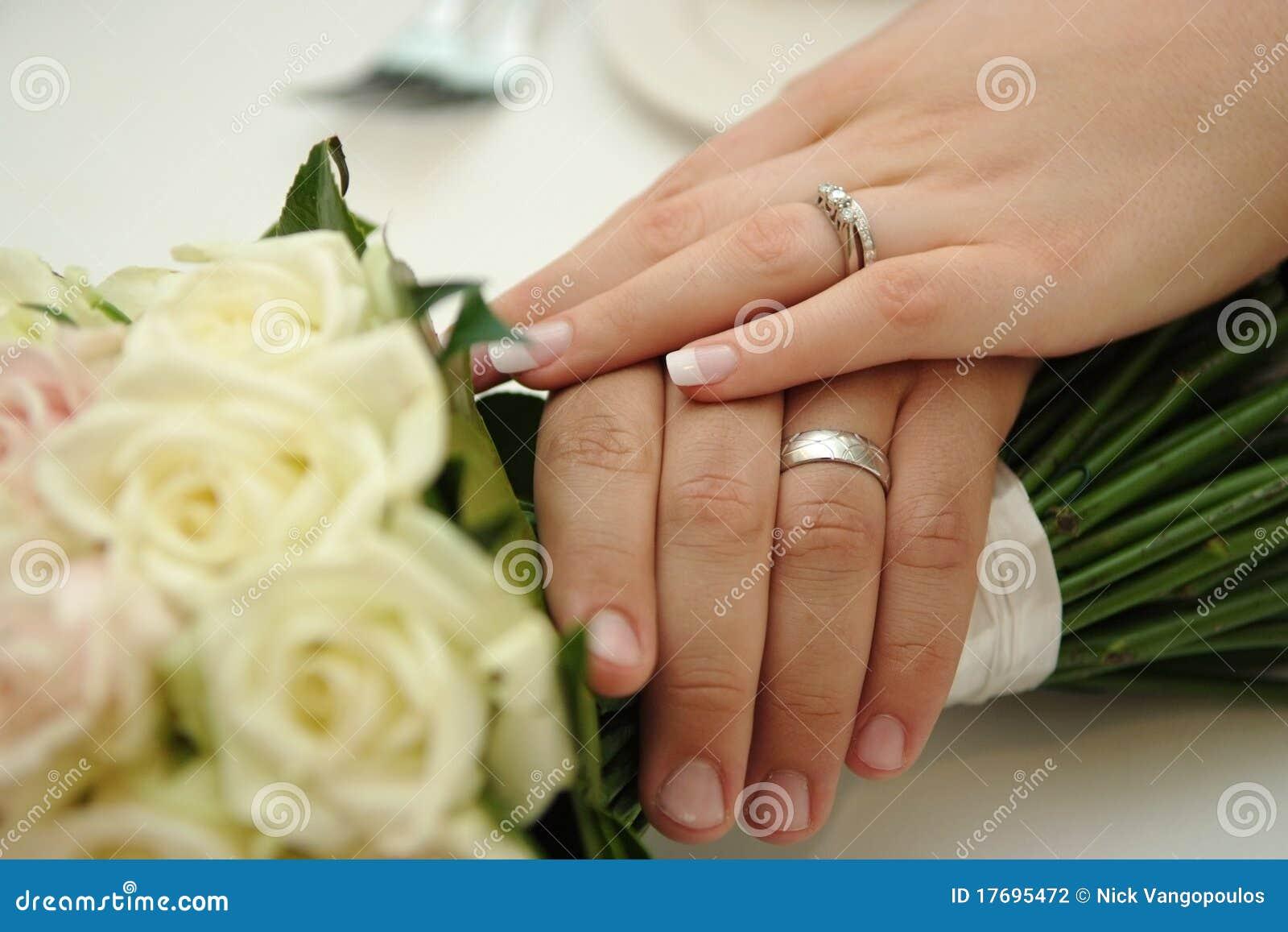 Bride Amp Groom Wearing Wedding Rings Stock Photography