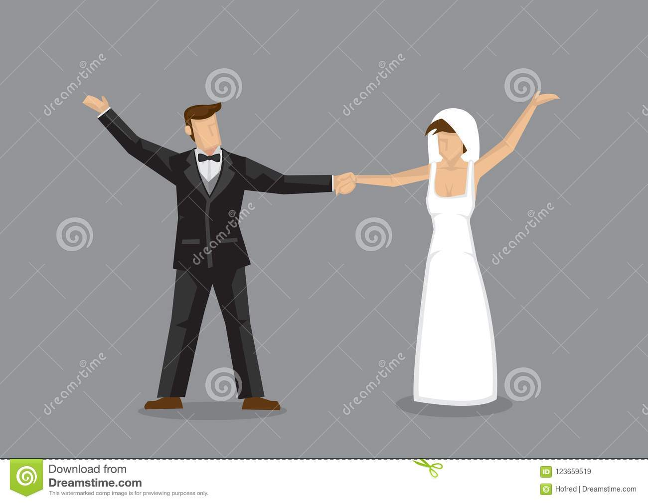 Bride And Groom Wedding Dance Vector Character Illustration Stock