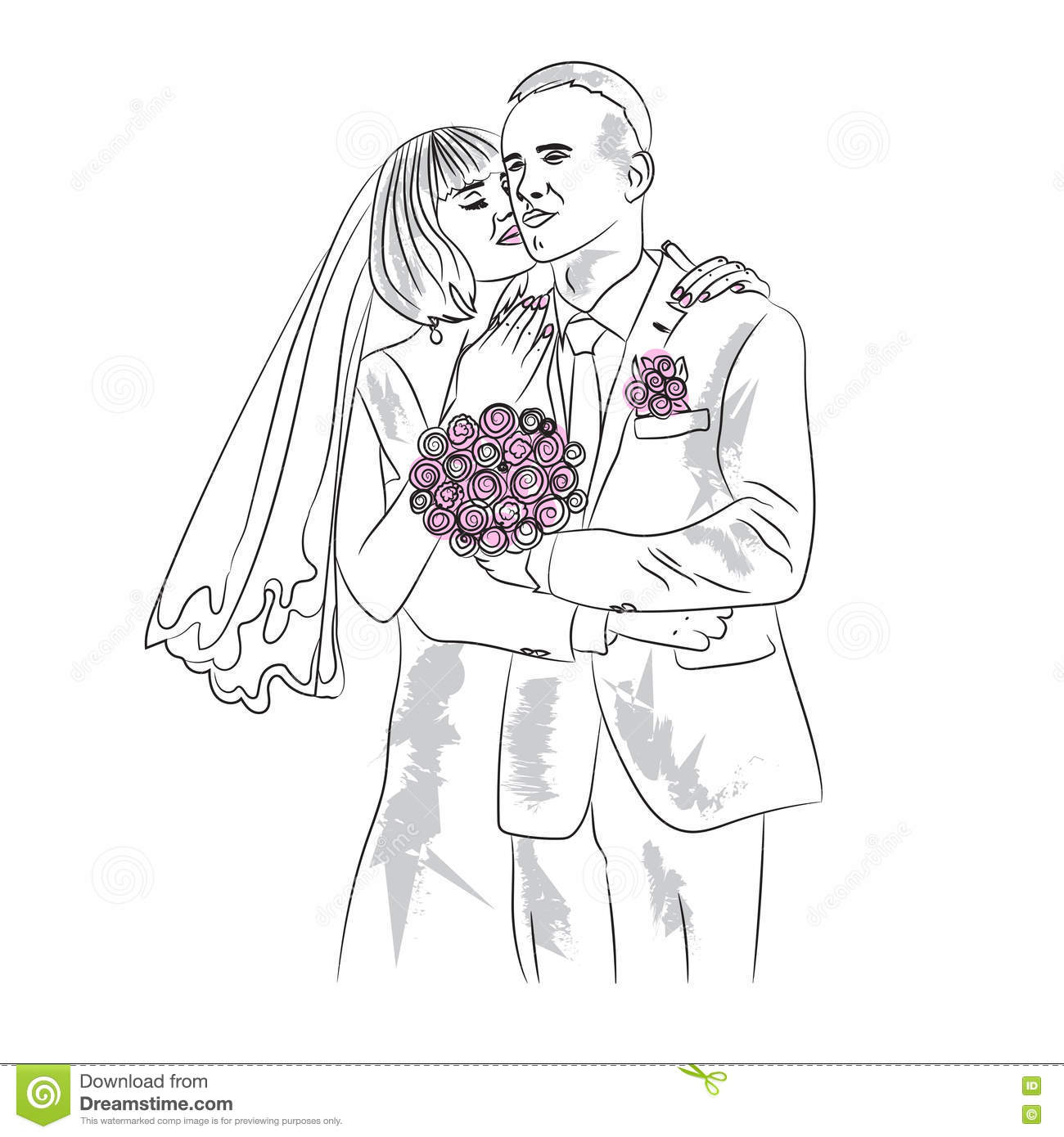the bride and groom in they wedding day stock vector illustration