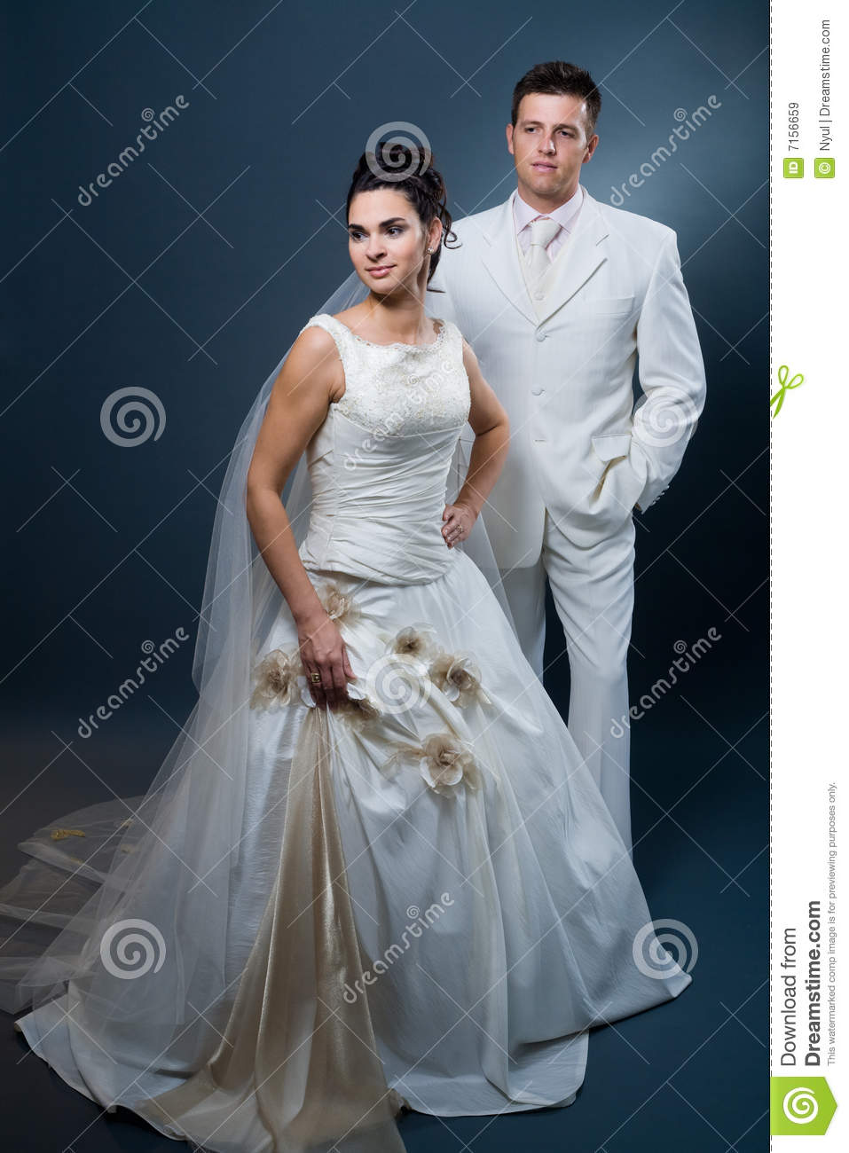 Bride And Groom In Wedding Dress Stock Image - Image of celebration ...