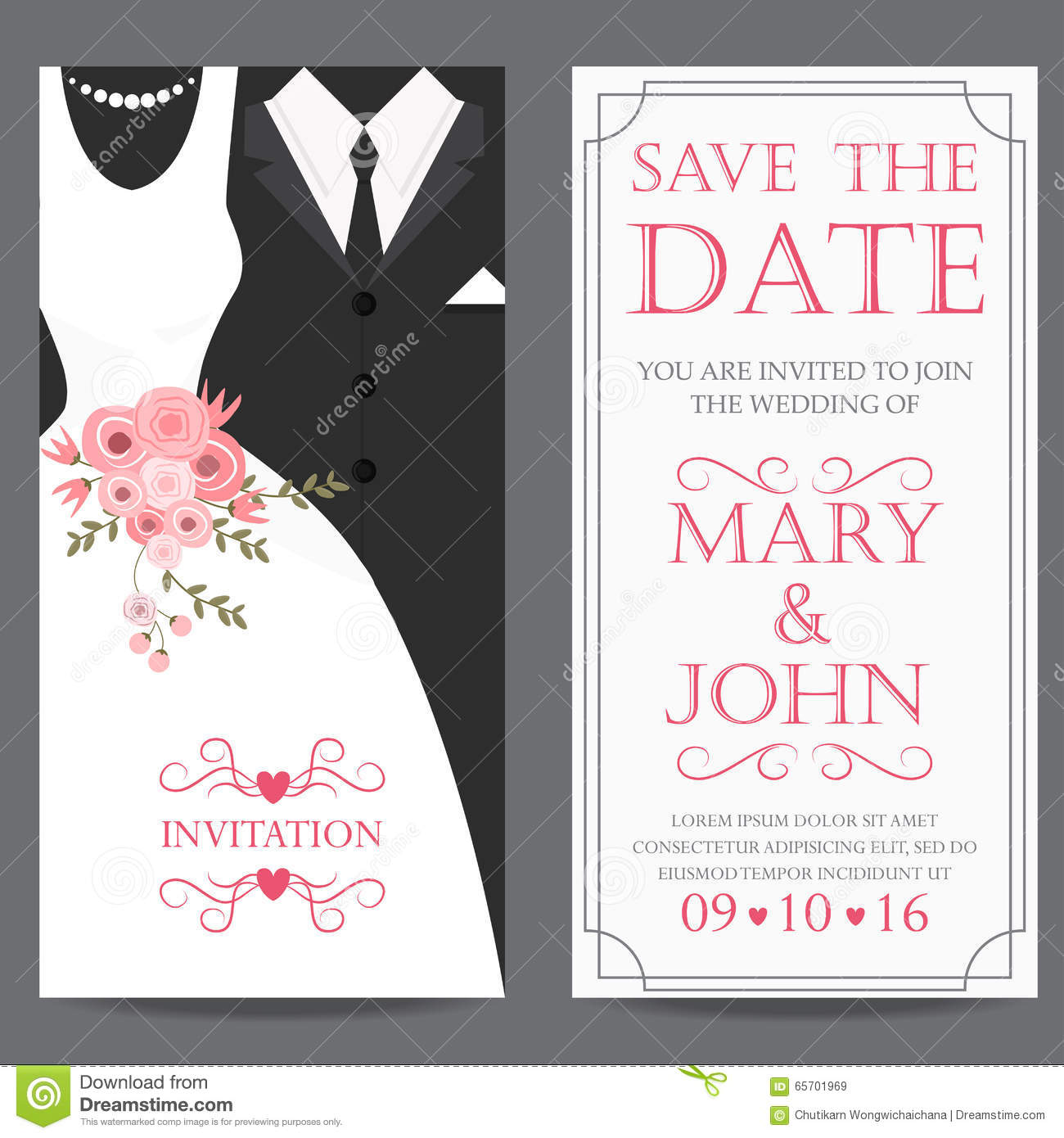 Bride and groom wedding invitation card stock vector for Brides wedding invitations
