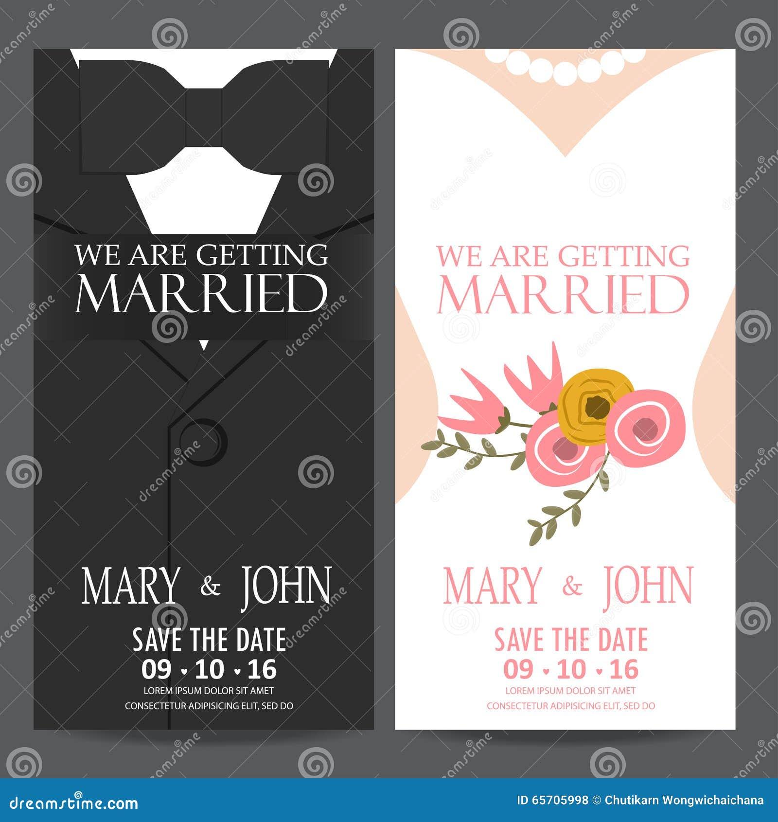 Bride Card Dress Groom Illustration Invitation Love Vector Wedding ...