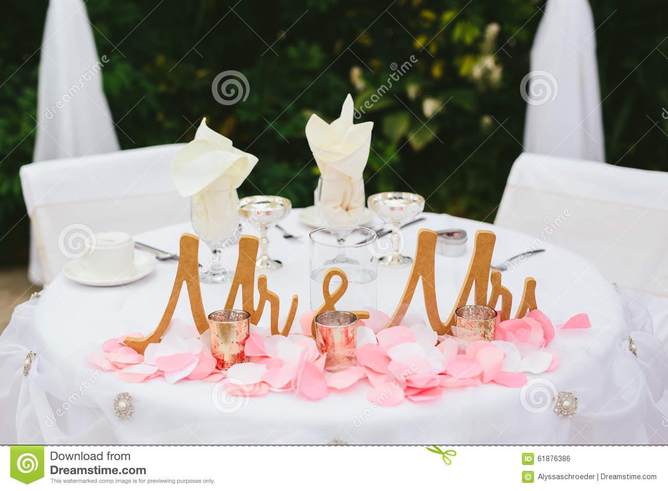 Bride And Groom Wedding Reception Table Decor.