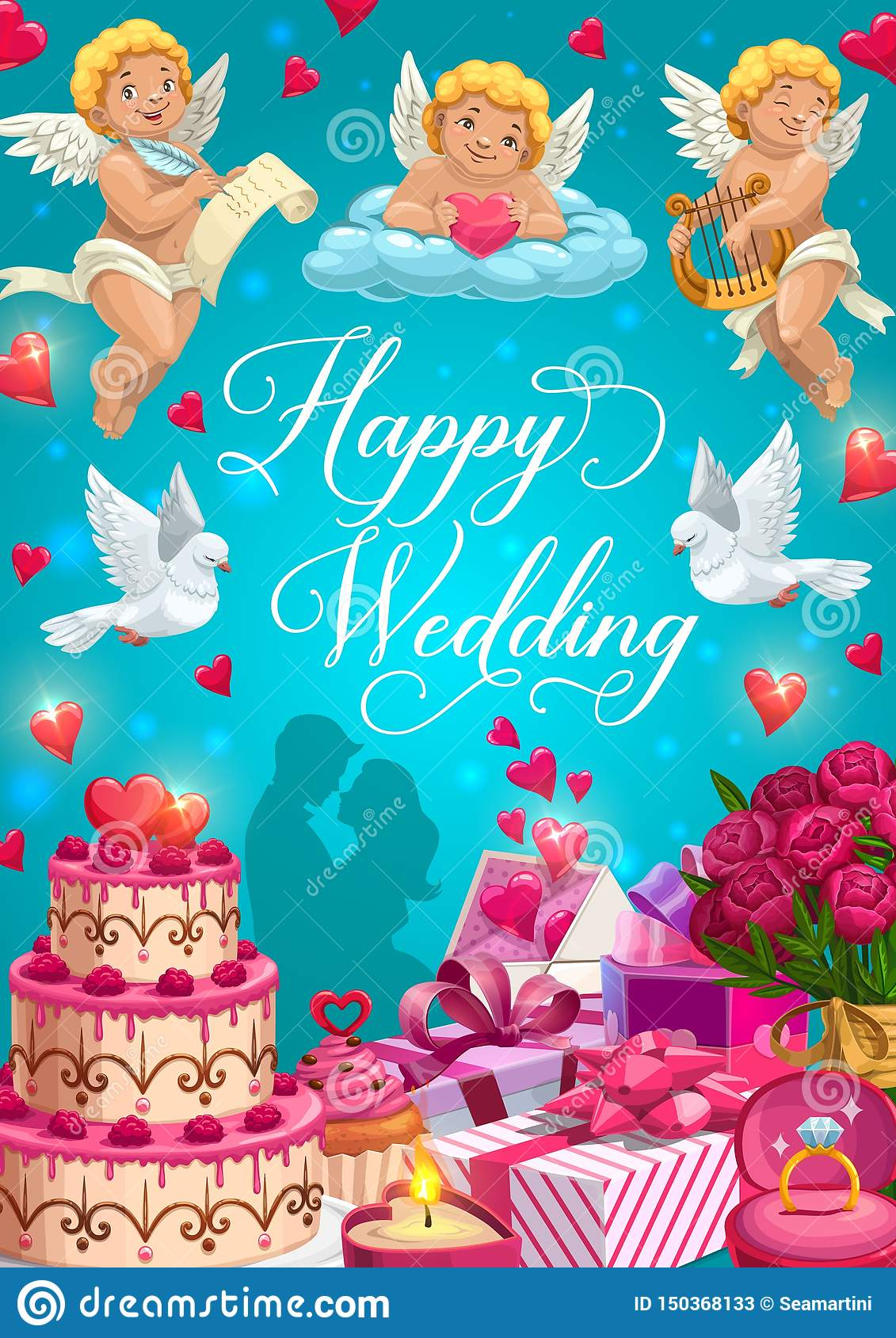 Bride And Groom With Wedding Rings Gifts And Cake Stock Vector