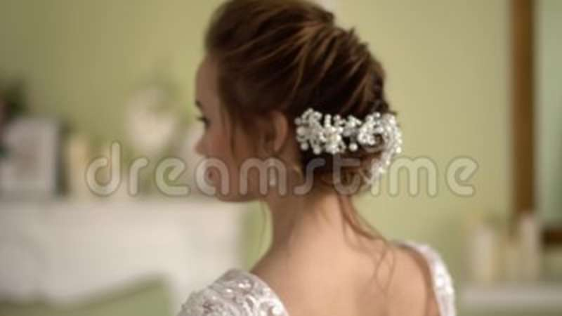 Bride Hairstyle With Decoration Beautiful Naked Back Stock Video