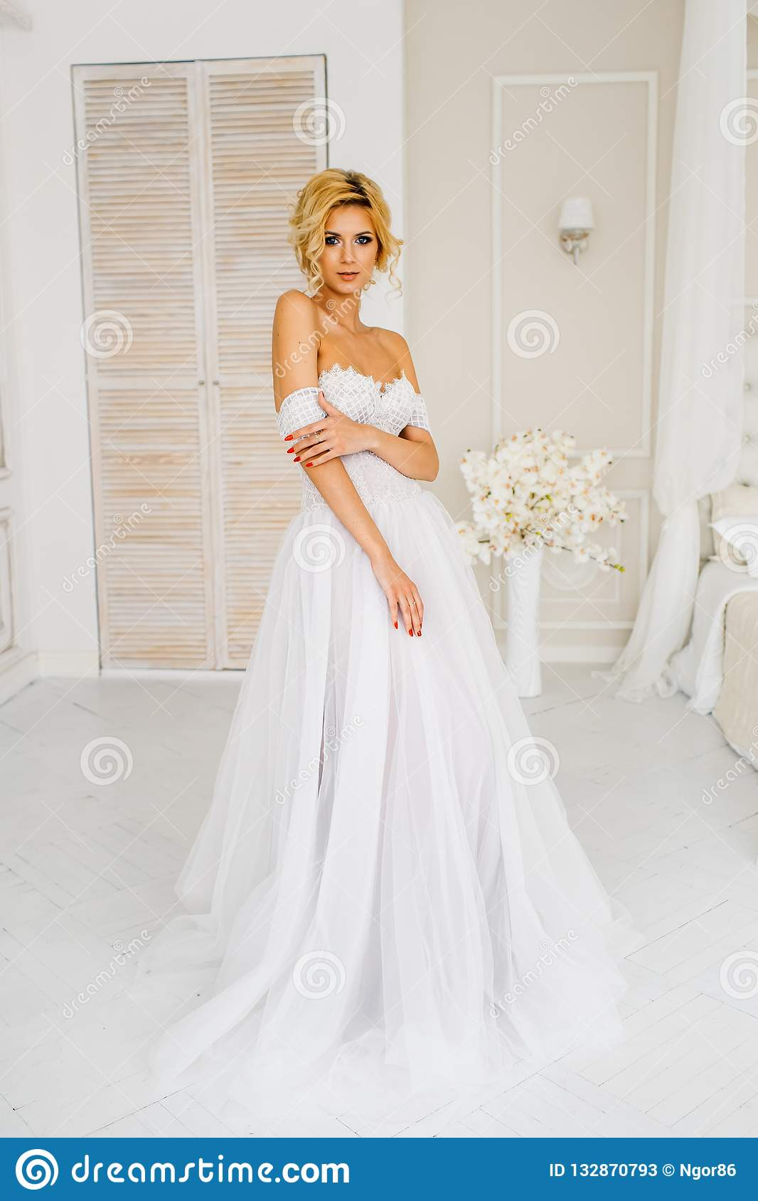 A Bride With Hairstyle And Make A Portrait Of Beautiful Girl With