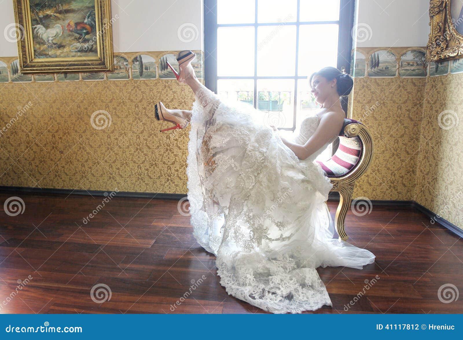 Bride in her wedding day feeling great