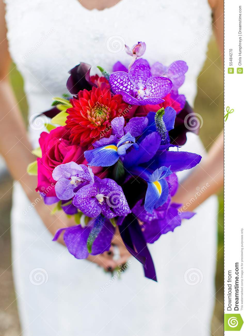 Bride With Bouquet Of Flowers At Wedding Stock Photo Image Of