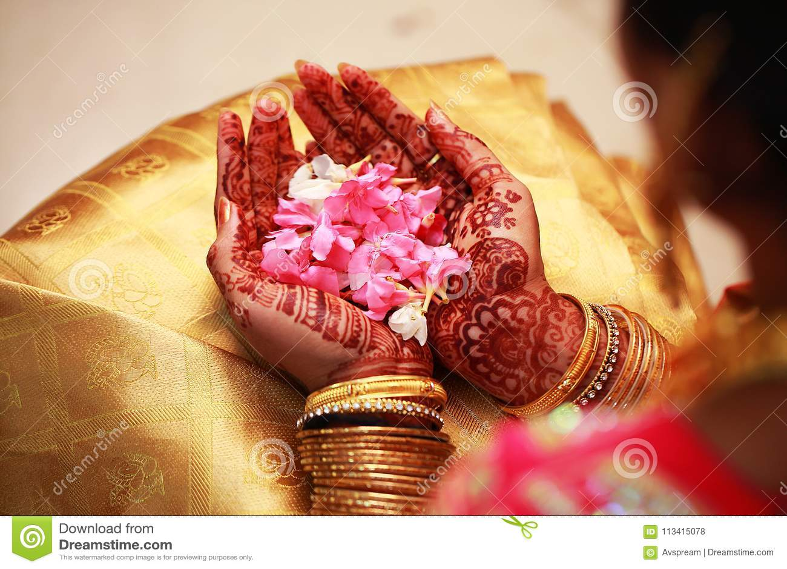 Bride Holding Flower Indian Wedding Ceremony Stock Photo
