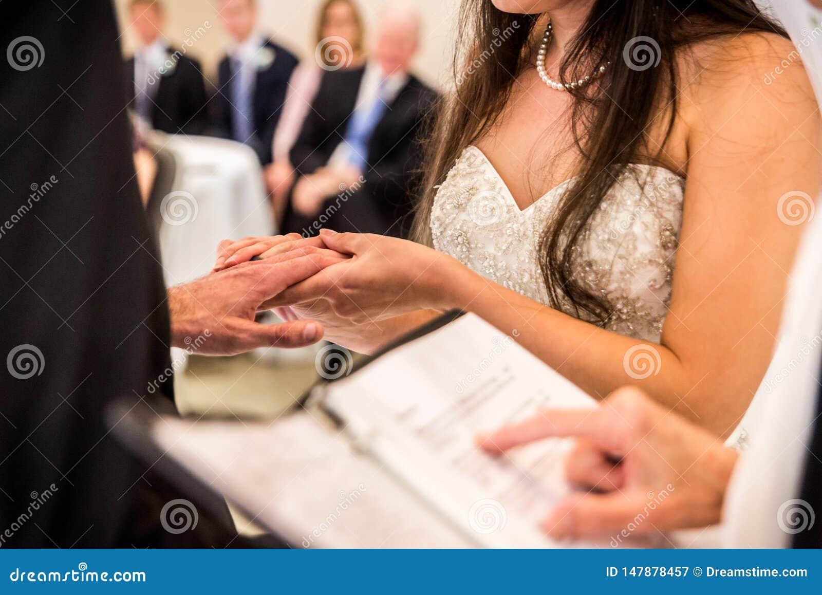 Bride holding Groom`s hand
