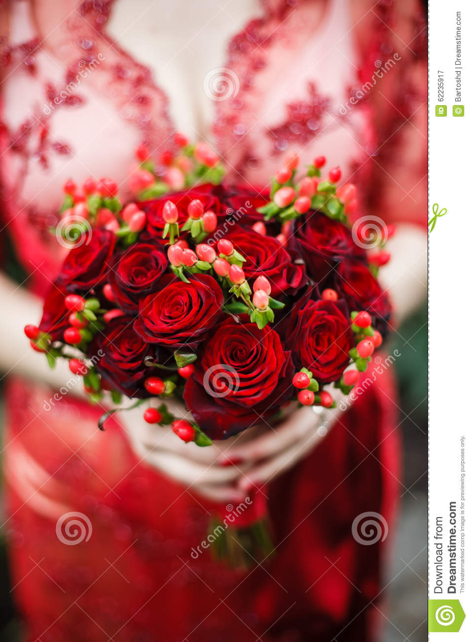 Bride Holding Her Red Wedding Bouquet Of Flowers Stock Image Image