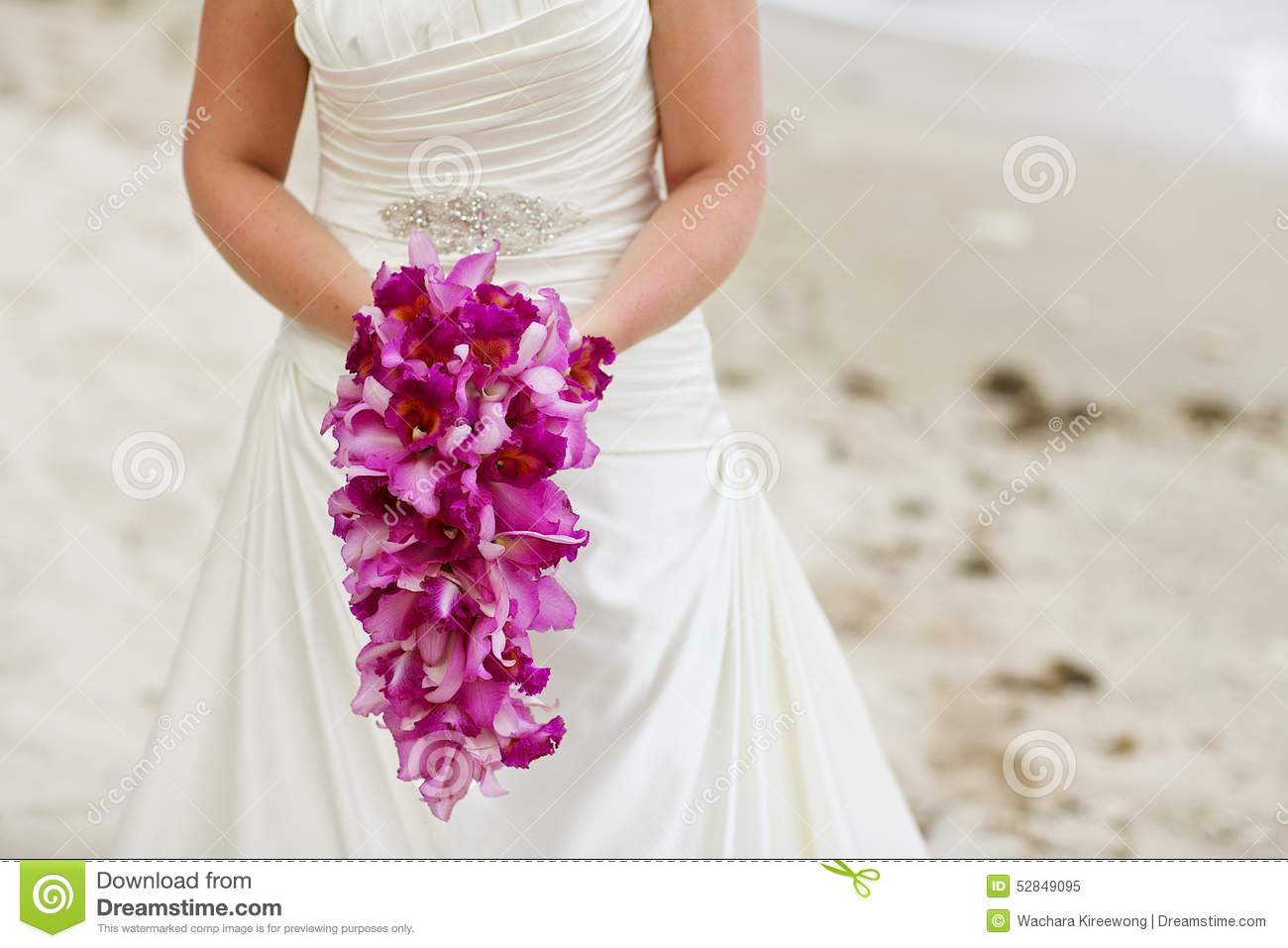 Bride Holding Purple Orchid Flower Wedding Bouquet Stock Image ...