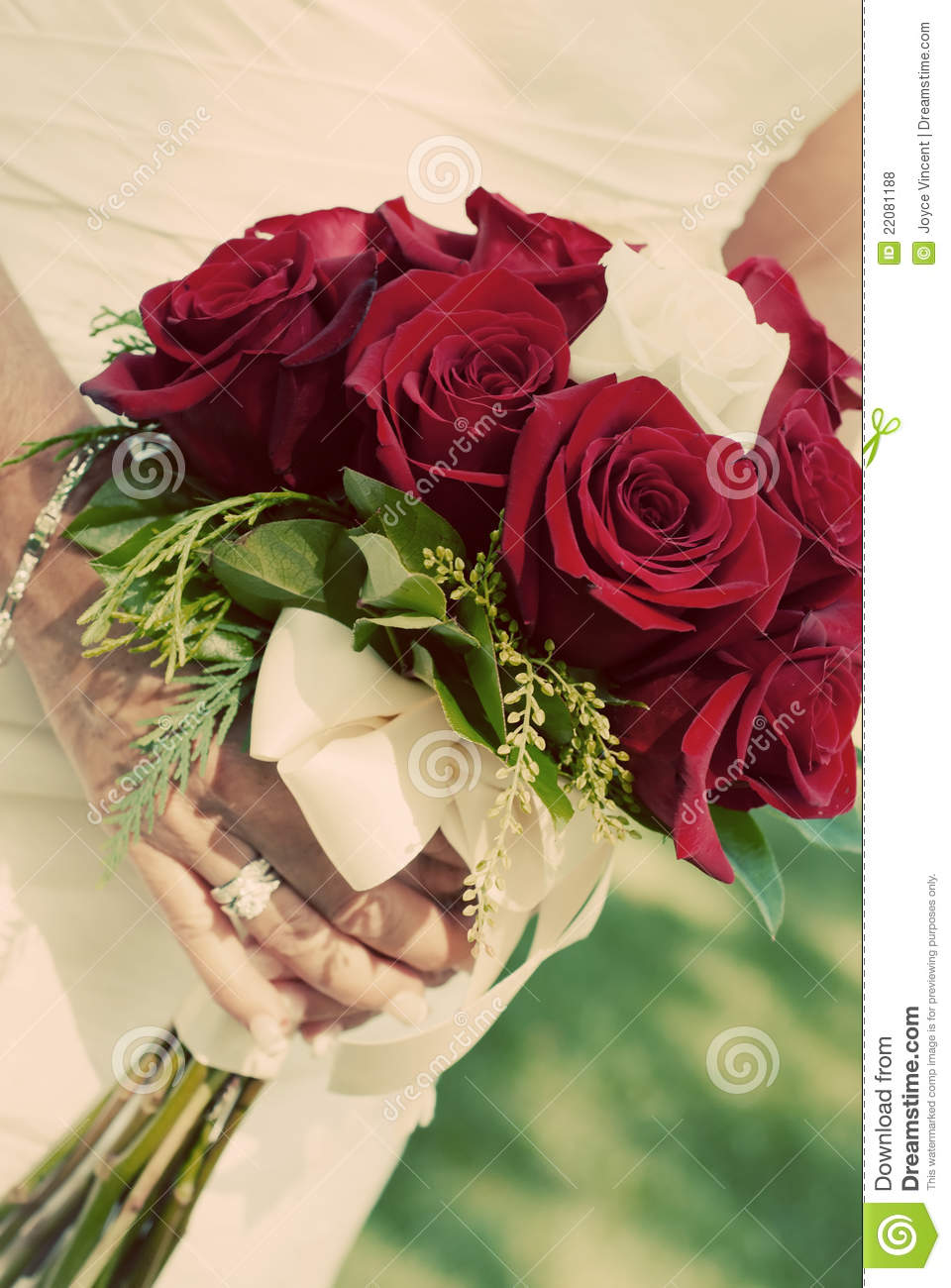 Bride Holding Red Rose Bouquet Stock Photo Image 22081188