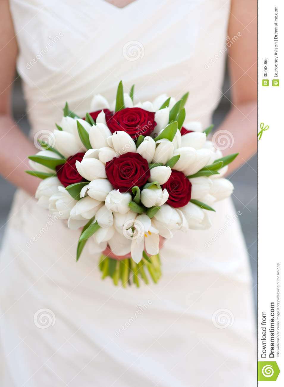 Red rose and white tulip wedding bouquet stock image for Bouquet de lys