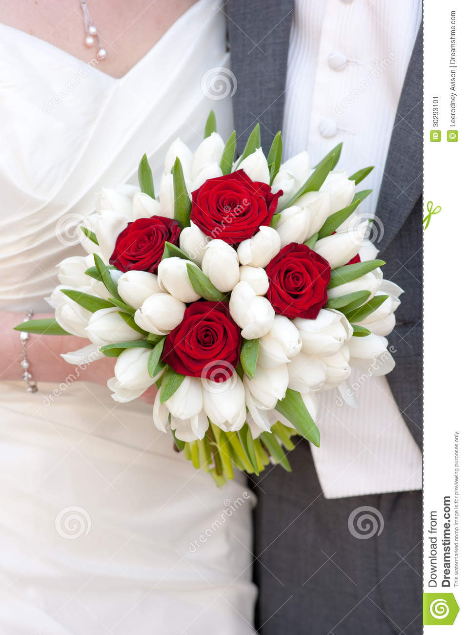 Red rose and white tulip wedding bouquet stock image for Wedding bouquet tulips and roses
