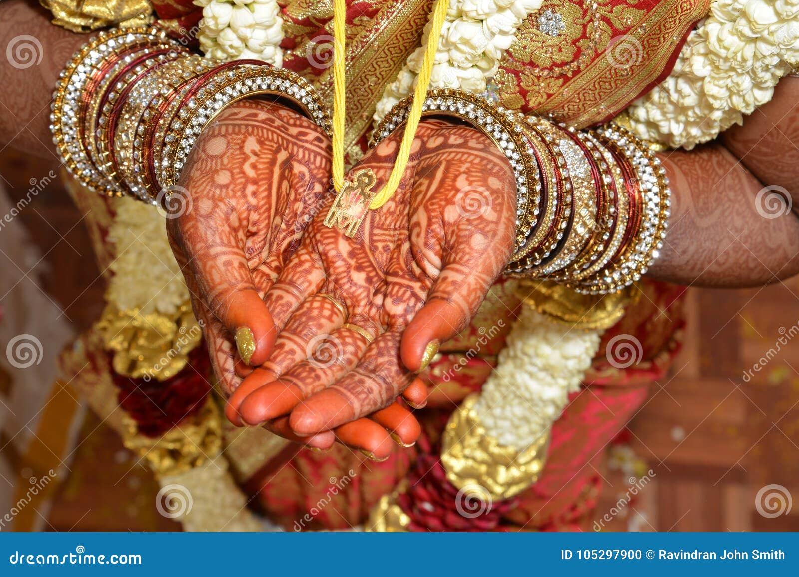 Indian Wedding - Holding Thali Stock Photo - Image of bride