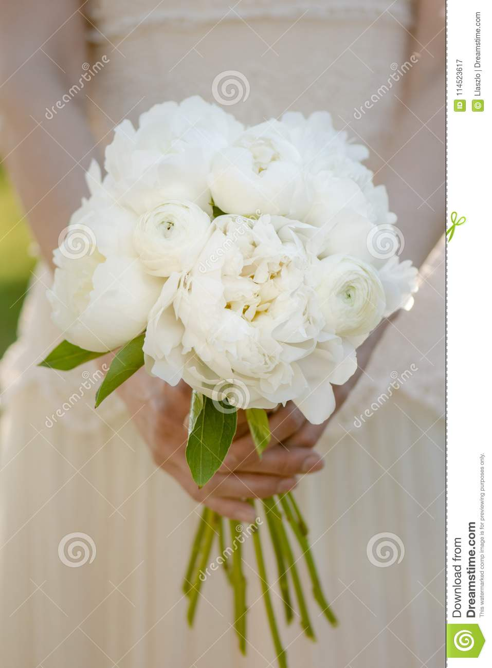 Bride Holding Wedding Bouquet White Peony Flowers Classical