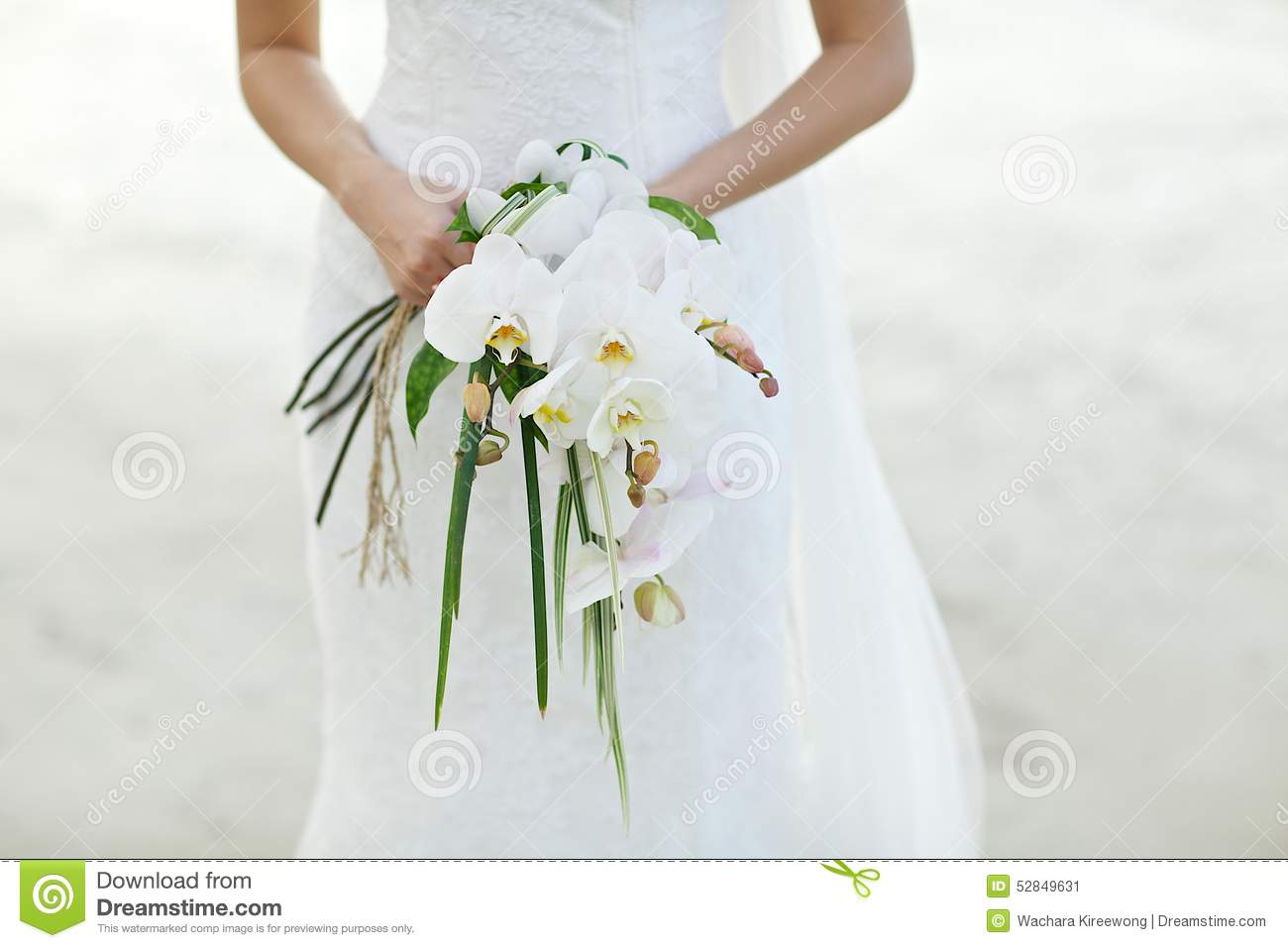 bride holding white orchid flower wedding bouquet stock photo image 52849631. Black Bedroom Furniture Sets. Home Design Ideas