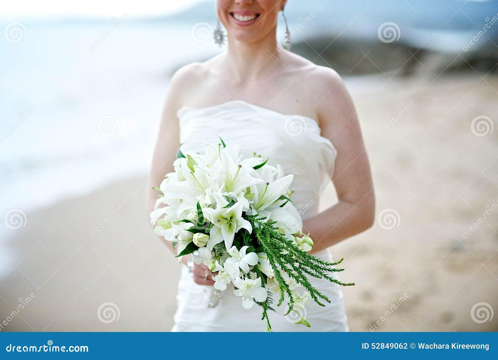 Bride Holding White Wedding Bouquet Stock Photo Image Of Bouquet Happy 52849062