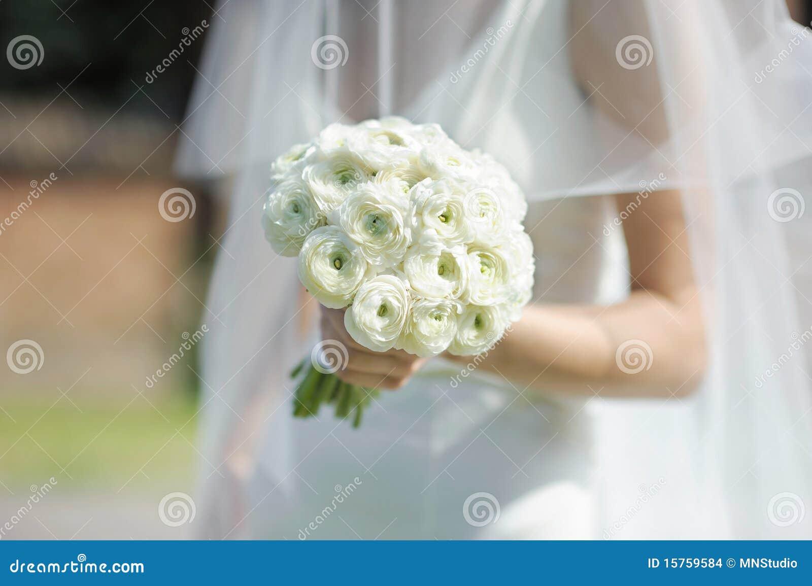 Bride Holding White Wedding Flowers Bouquet Stock Photo Image Of