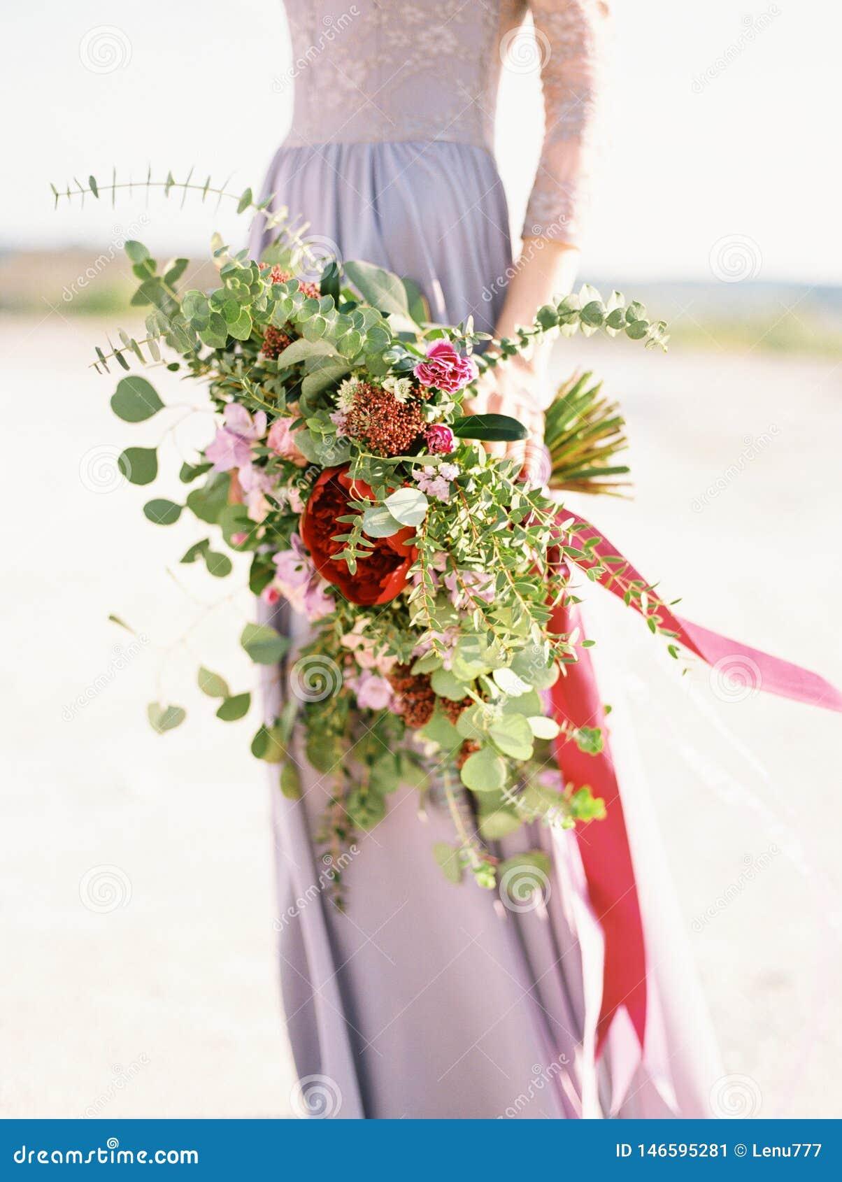 Bride Lavender Wedding Dress Holding Wedding Bouquet Boho Style