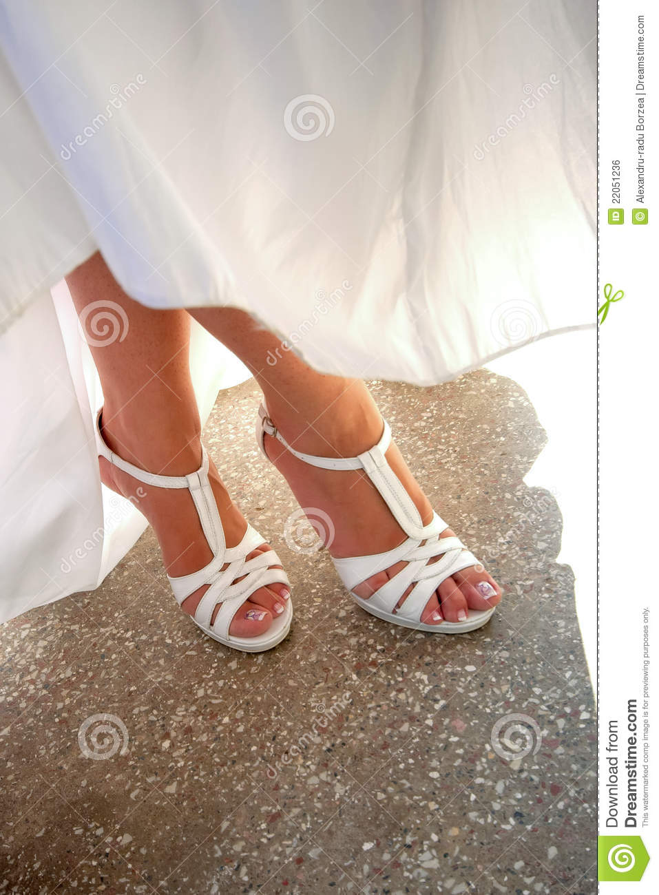 Bride legs and shoes stock photo. Image of wedding, foot - 22051236