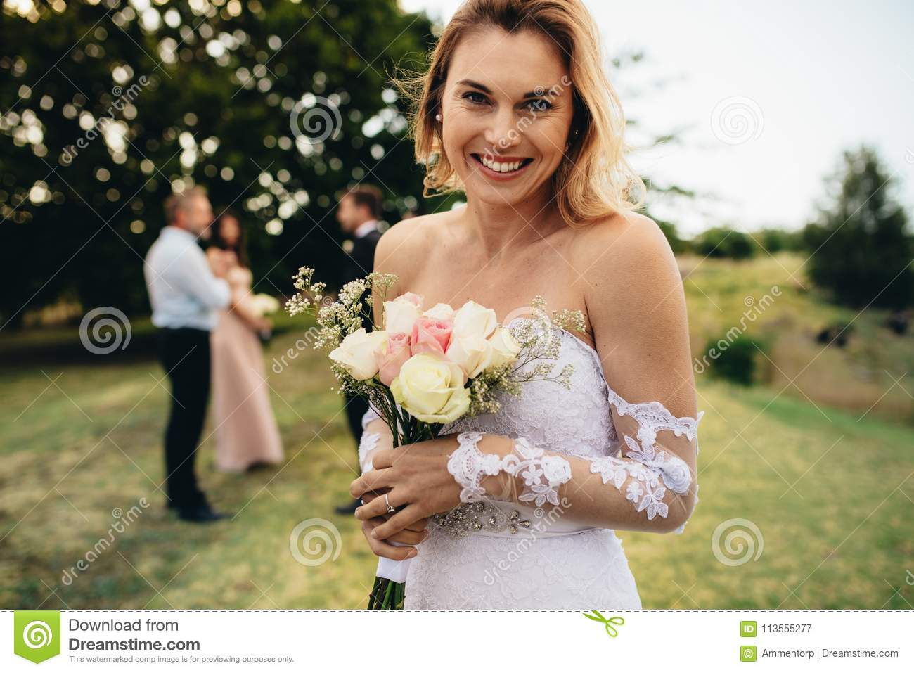 Download Bride Looking Happy At Wedding Party Stock Image - Image of looking, people: 113555277