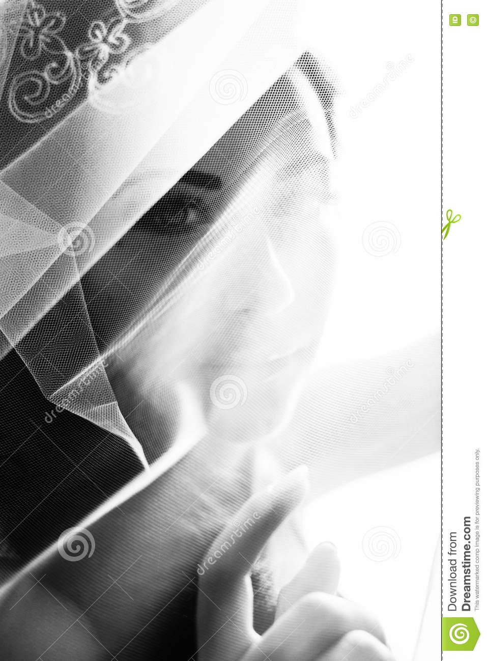 Bride looks mysterious being covered with a veil