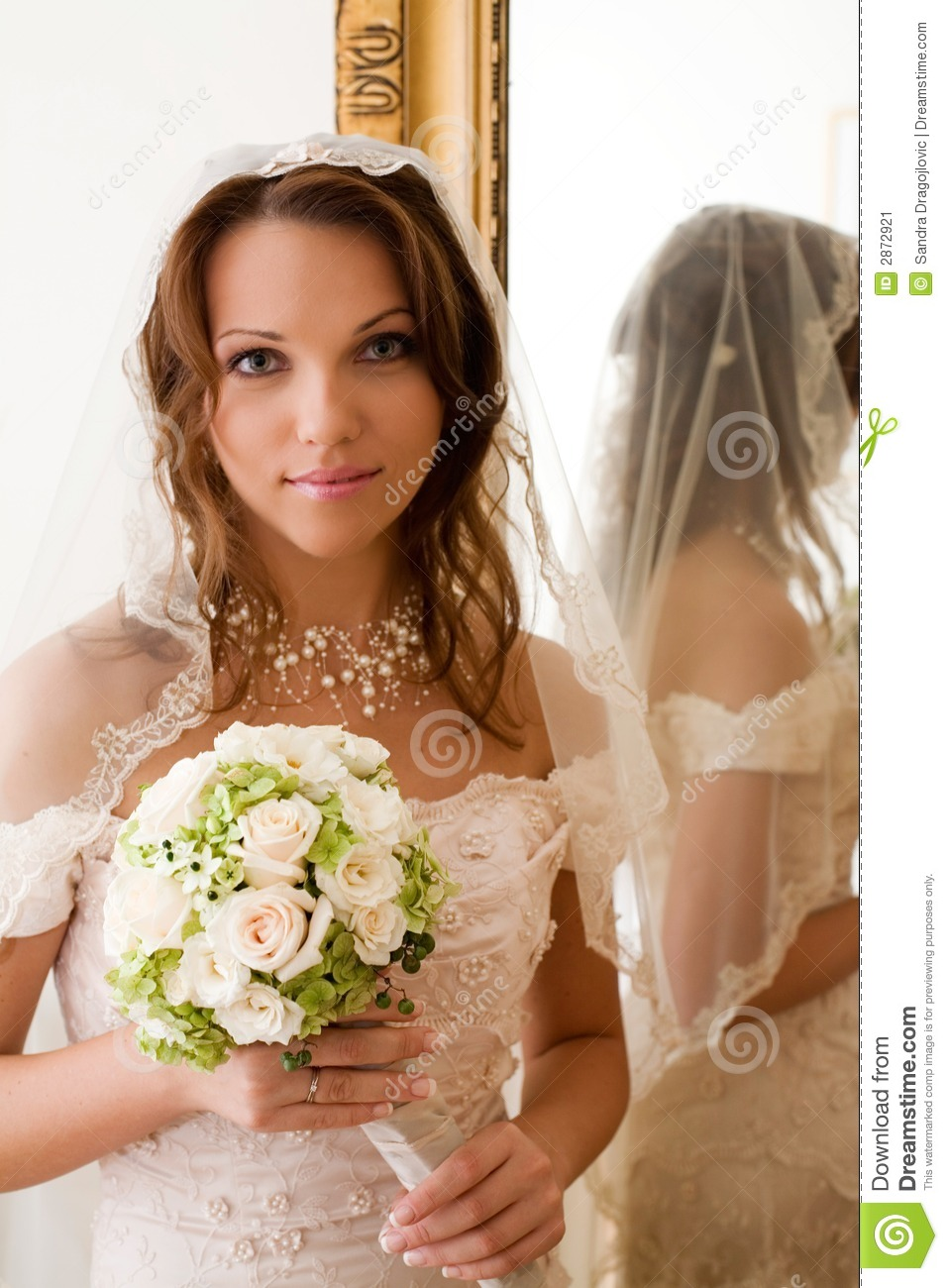 Download Bride at the mirror stock image. Image of romance, decoration - 2872921