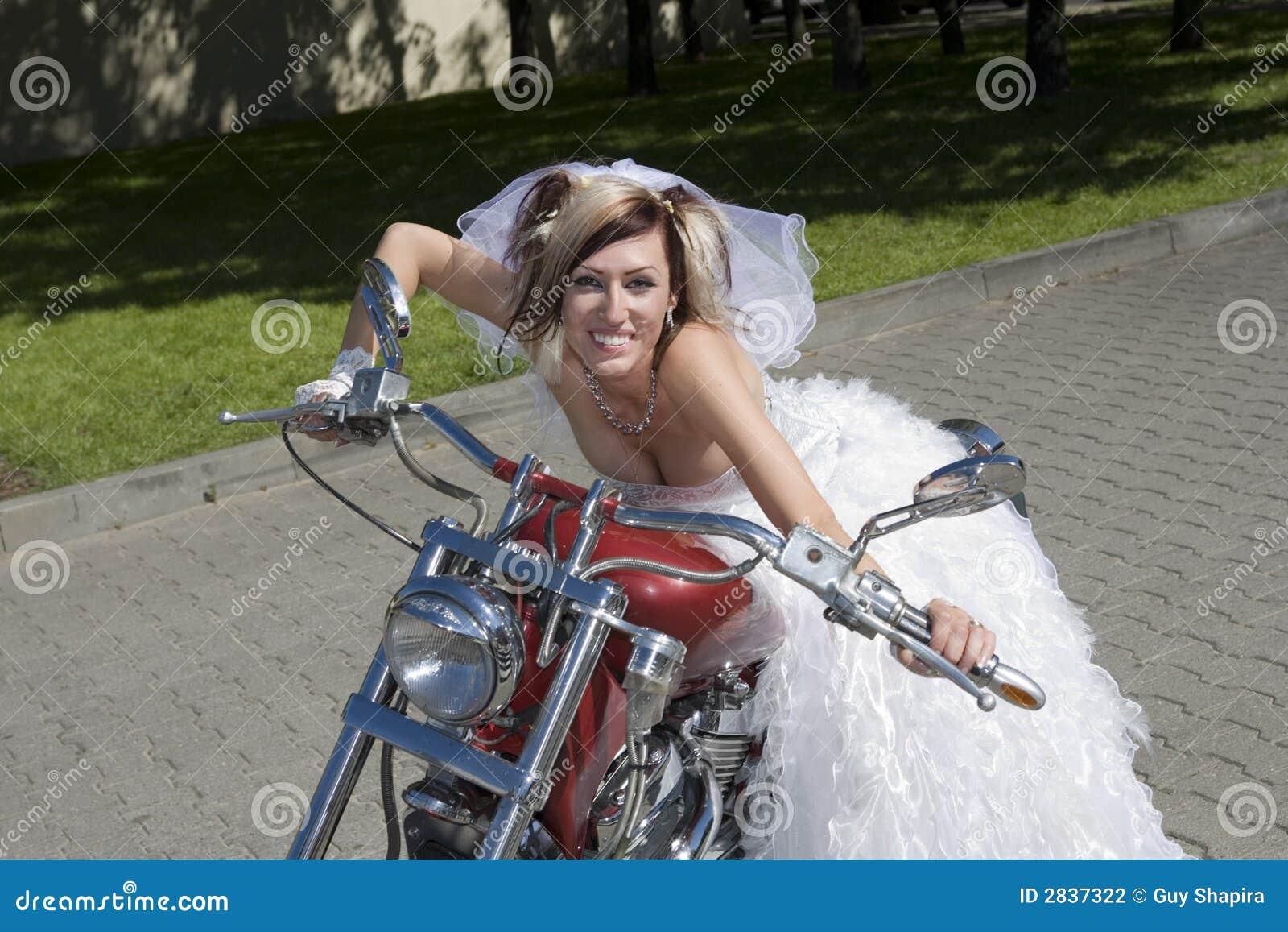 Bride on motorcycle