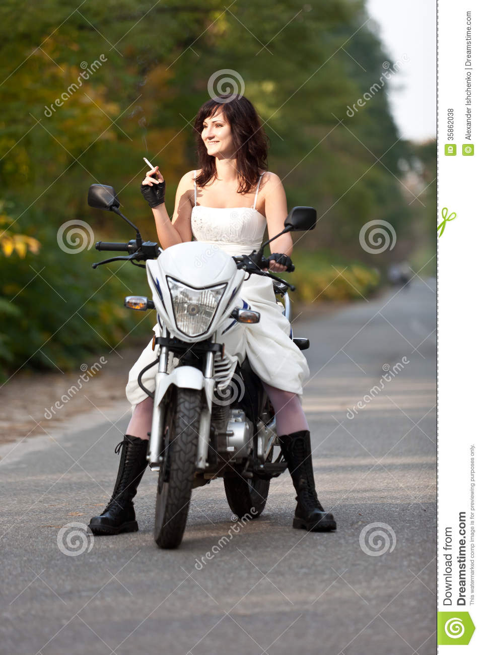 Bride on motorcycle royalty free stock photos image 35862038