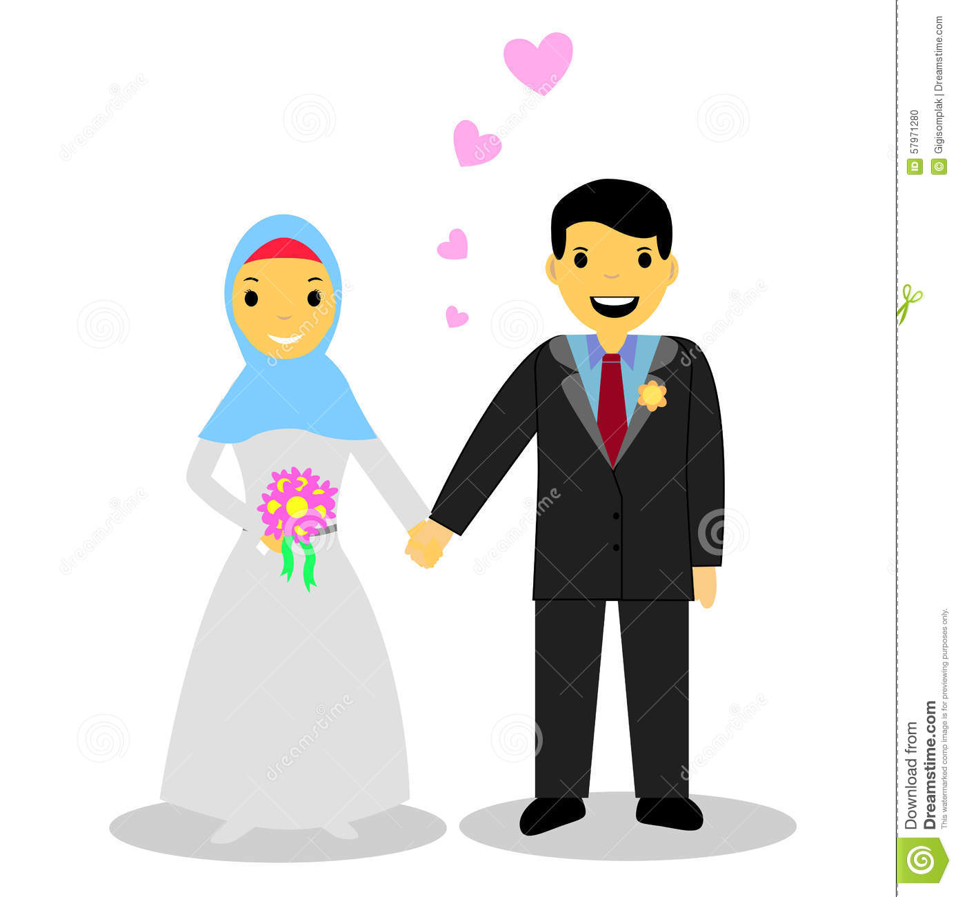 Bride Muslim Couple On White Cartoon Vector