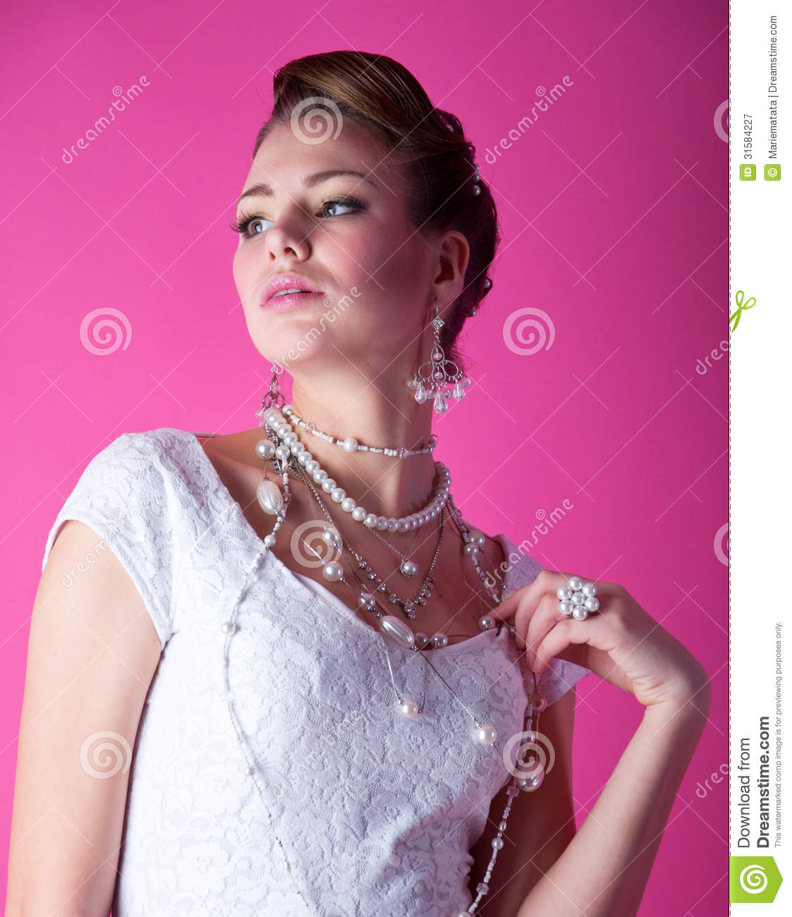 Bride On Pink Royalty Free Stock Photography