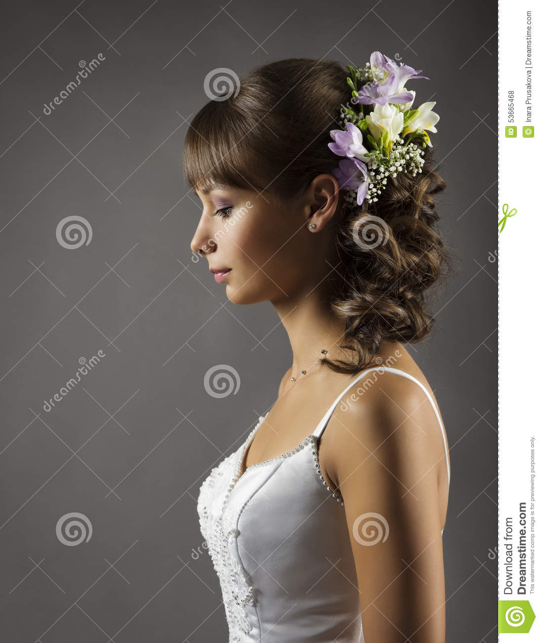 bride portrait, wedding hairstyle flowers, bridal hair style stock