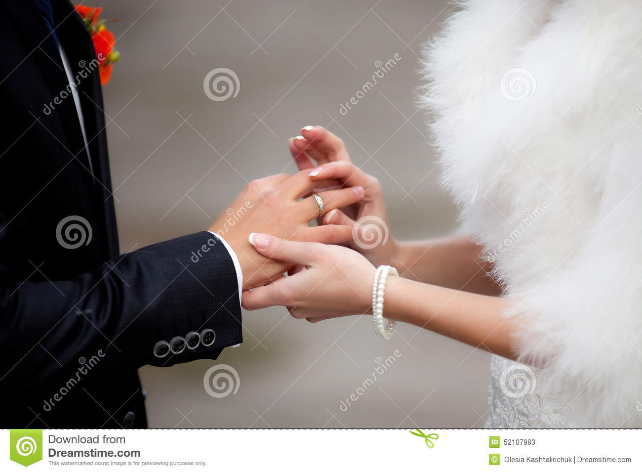 Bride Put The Wedding Ring On Groom Stock Image Image of marry
